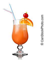 pomarańcza, biały, odizolowany, cocktail