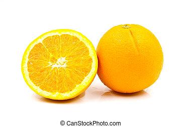 pomarańcza, biały, odizolowany, tło