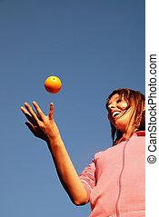 pomarańcza, dziewczyna, balansowy, powietrze