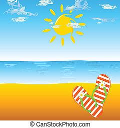 pomarańcza, fiasko, plaża, trzepnięcie