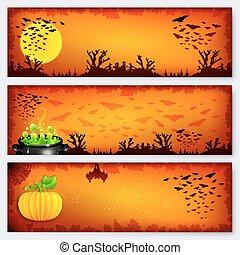 pomarańcza, halloween, chorągwie, tła, komplet