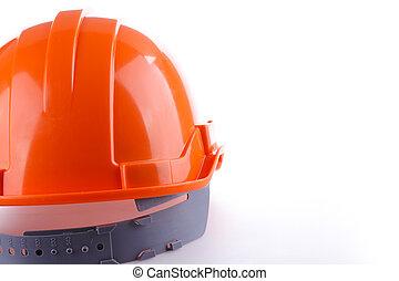 pomarańcza, hełm, twardy, bezpieczeństwo, kapelusz