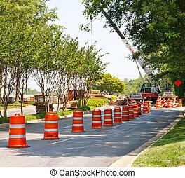 pomarańcza i biała, baryłki, w, drogowe zbudowanie