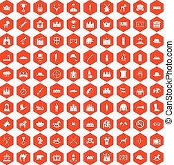 pomarańcza, ikony, 100, jazda konna, sześciokąt