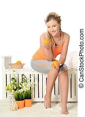 pomarańcza, lekkoatletyka, garnitur, kobieta