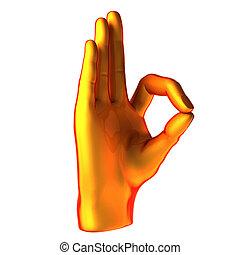 pomarańcza, ok, ręka abstrakcyjna