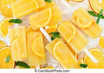 pomarańcza, owoc, popsicle, swojski, kromki