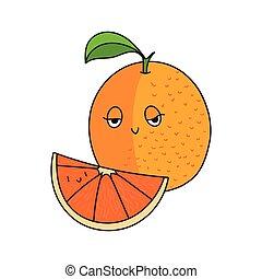 pomarańcza, owoc, wektor, ilustracja