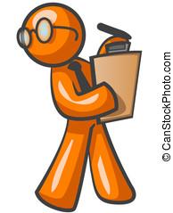 pomarańcza, pieszy, clipboard., człowiek