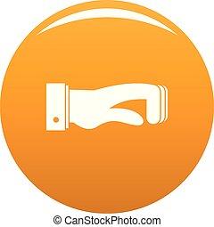 pomarańcza, pojęcie, wektor, ręka, ikona