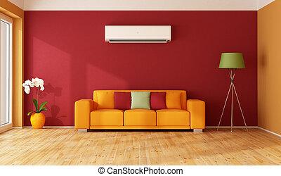 pomarańcza, pokój, czerwony, żyjący