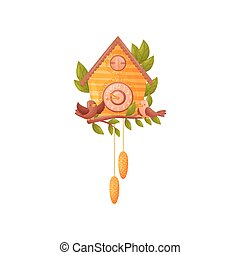 pomarańcza, posiedzenie, ścienny zegar, house., dwa, ilustracja, tło., formułować, wektor, gałąź, przód, biały, ptaszki