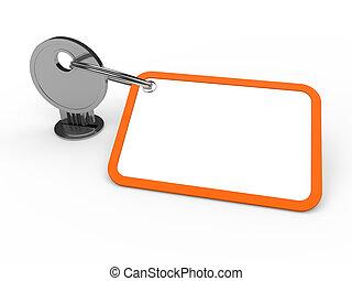 pomarańcza, przywiązany, klucz, 3d