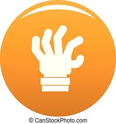pomarańcza, strach, wektor, ręka, ikona