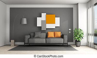 pomarańcza, szary, pokój, żyjący