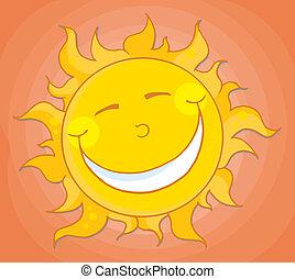 pomarańcza, szczęśliwy, niebo, słońce