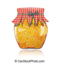 pomarańcza, szkło, dżem słój, utrzymany