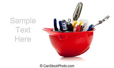 pomarańcza, twardy kapelusz, pełny, od, narzędzia, na białym, z, kopiować przestrzeń