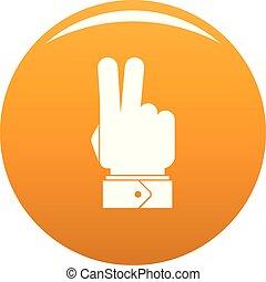 pomarańcza, wektor, hej, ręka, ikona