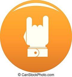 pomarańcza, wektor, muzyka, ręka, ikona