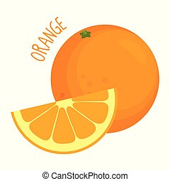 pomarańcza, wektor, odizolowany, ilustracja