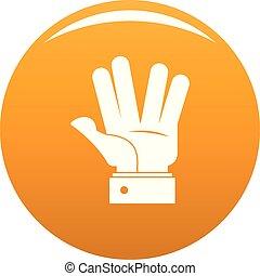 pomarańcza, wektor, powitanie, ręka, ikona
