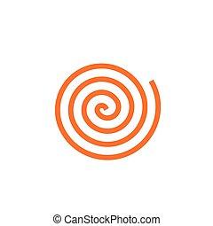 pomarańcza, wektor, prosty, ikona, spirala