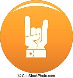 pomarańcza, wektor, ręka, ikona, skała