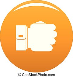 pomarańcza, wektor, ręka, pięść, ikona