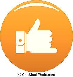 pomarańcza, wektor, rozmowa telefoniczna, ręka, ikona