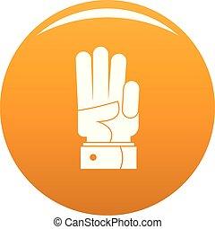 pomarańcza, wektor, trzy, ręka, ikona