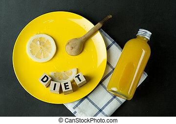 pomarańczowa kromka, świeży, płyta, cytryna, żółty, butelka, sok