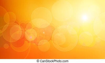 pomarańczowe światło, bokeh, abstrakcyjny, tło