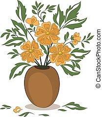 pomarańczowe kwiecie, wazon