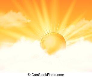 pomarańczowe słońce, jasne niebo