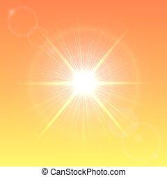 pomarańczowe słońce, niebo