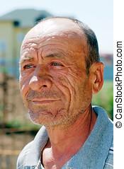 pomarszczony, portret, dziad
