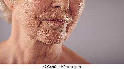 pomarszczony, senior, skóra, samicza twarz