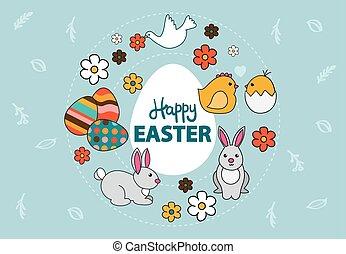 pomba, coelhinho, ovos, coloridos, pintado, vetorial, flores, páscoa, cartão