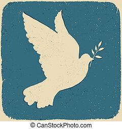 pomba, de, peace., retro, denominado, ilustração, vetorial,...