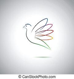 pomba, e, paz