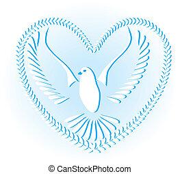 pomba, símbolo, de, paz, e, liberdade