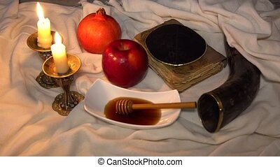 Pomegranate, apple and honey, traditional food of jewish New...