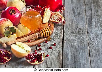 Pomegranate, apples and honey background - Pomegranate,...