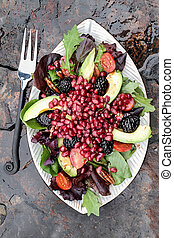Pomegranate, Avocado and Blackberrry Salad - A healthy salad...