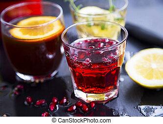 Pomegranate cocktail glass
