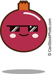 pomegranate fruit cartoon character icon kawaii Flat design Vector