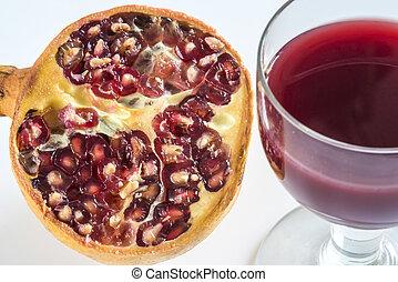 Pomegranate, fruit, seeds and juice