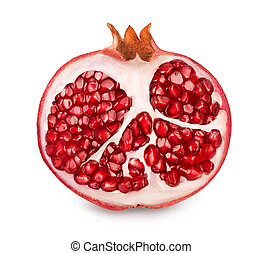 Pomegranate half isolated on white background with clipping path and full depth of field.
