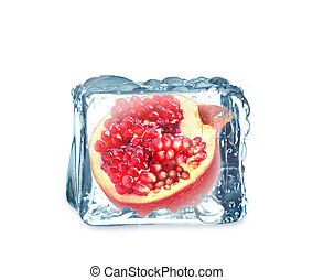 pomegranate in the ice cube
